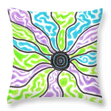 Tripped Out Sun Throw Pillow by Jera Sky