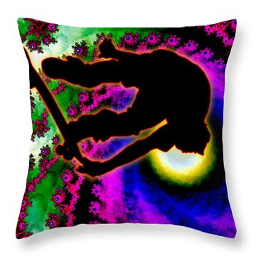 Tropical Hurricane Eye With Skateboarder Throw Pillow by Elaine Plesser