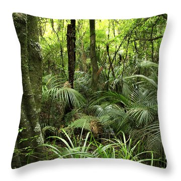 Tropical Jungle Throw Pillow by Les Cunliffe