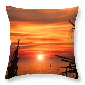 Tropical Sunset V6  Throw Pillow by Douglas Barnard