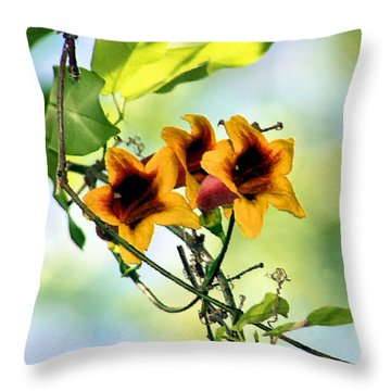 Trumpeting Spring Throw Pillow by Kristin Elmquist