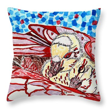 Tucked In Mom No.3 Throw Pillow by Connie Valasco