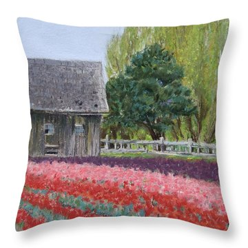 Tulip Season Throw Pillow by Marie-Claire Dole