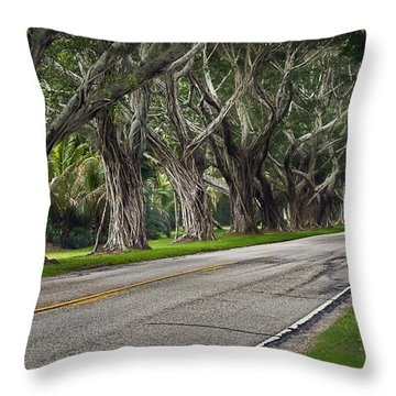 Tunnel Of Trees Throw Pillow by Robert Smith