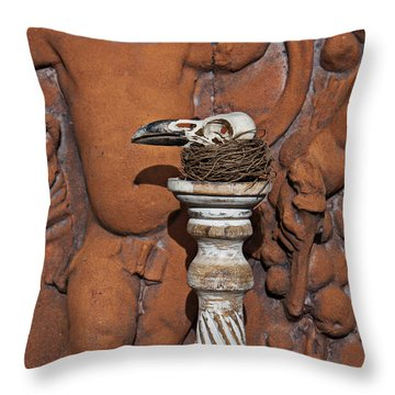 Turkey Vulture Skull Throw Pillow by Garry Gay