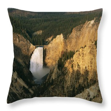 Twilight View Of Lower Yellowstone Throw Pillow by Michael S. Lewis