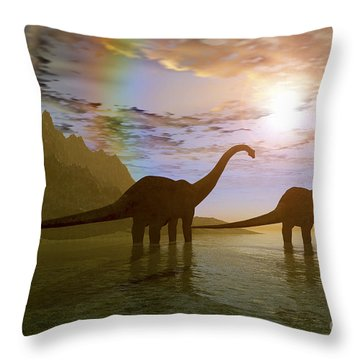 Two Diplodocus Dinosaurs Wade Throw Pillow by Corey Ford