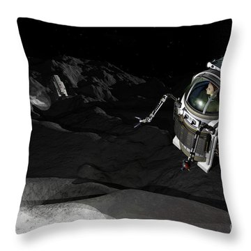 Two Manned Maneuvering Vehicles Explore Throw Pillow by Walter Myers