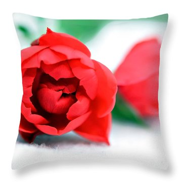 Two Rose Buds Throw Pillow by Susan Leggett