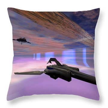 Two Starships Warp Along Space Enegy Throw Pillow by Corey Ford