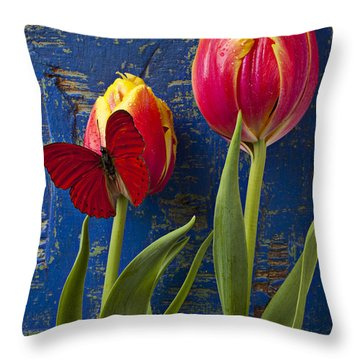Two Tulips With Red Butterfly Throw Pillow by Garry Gay