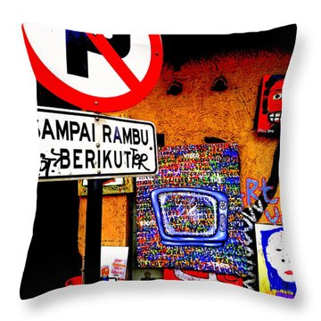 Ubud Art Street  Throw Pillow by Funkpix Photo Hunter