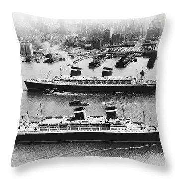 United States Lines Ships Throw Pillow by Photo Researchers