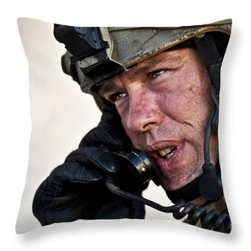 U.s. Air Force Sergeant Calls Throw Pillow by Stocktrek Images