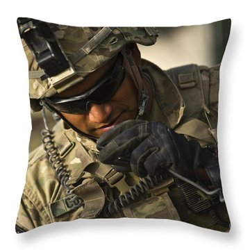 U.s. Army Soldier Communicates Throw Pillow by Stocktrek Images