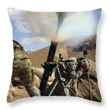U.s. Army Soldiers Firing A 120mm Throw Pillow by Stocktrek Images