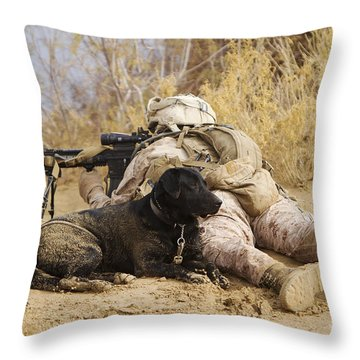 U.s. Marine And A Military Working Dog Throw Pillow by Stocktrek Images