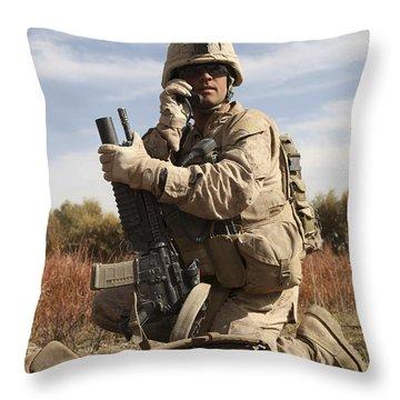 U.s. Marine Communicates Throw Pillow by Stocktrek Images