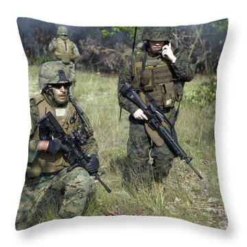 U.s. Marines Secure A Perimeter Throw Pillow by Stocktrek Images