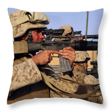 U.s. Marines Sighting Throw Pillow by Stocktrek Images