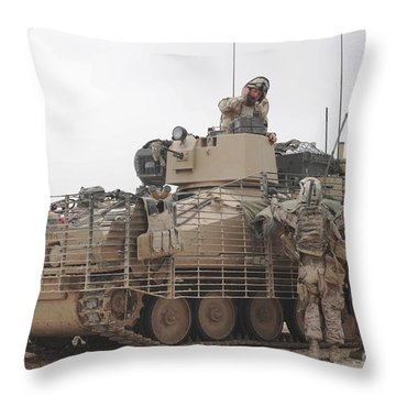 U.s. Marines Talk With A British Throw Pillow by Stocktrek Images