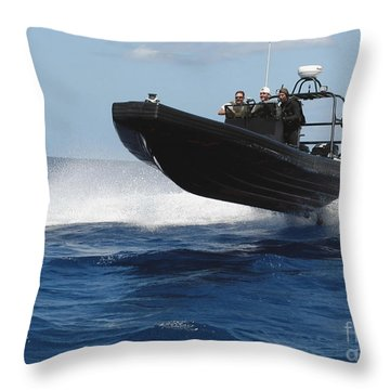 U.s. Navy Sailors Operate A Nine-meter Throw Pillow by Stocktrek Images