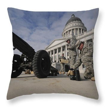 U.s. Soldiers Clean Up After Firing Throw Pillow by Stocktrek Images