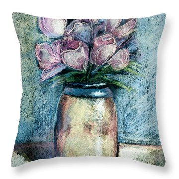 Vase Of Pink Tulips Throw Pillow by Arline Wagner