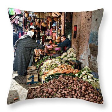 Veg Alley Throw Pillow by Marion Galt