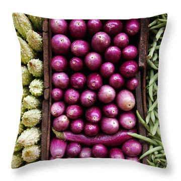 Vegetable Triptych Throw Pillow by Jane Rix