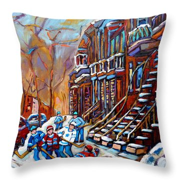 Verdun Street Scene Hockey Game Near Winding Staircases Vintage Montreal City Scene Throw Pillow by Carole Spandau