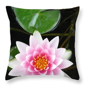 Vertical Water Lily Throw Pillow by Debbie Finley