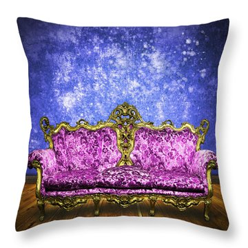 Victorian Sofa In Retro Room Throw Pillow by Setsiri Silapasuwanchai