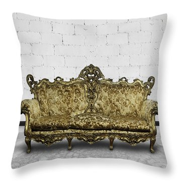 Victorian Sofa In White Room Throw Pillow by Setsiri Silapasuwanchai