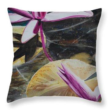 Vietnam Temple Waterlilies Throw Pillow by Alla Dickson