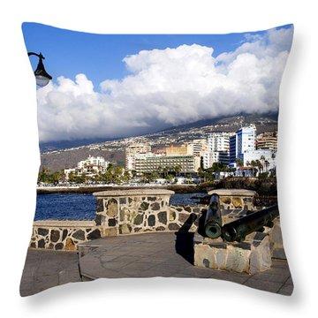 View Of Puerto De La Cruz From Plaza De Europa Throw Pillow by Fabrizio Troiani