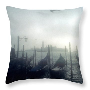 View Of San Giorgio Maggiore From The Piazzetta San Marco In Venice Throw Pillow by Simon Marsden