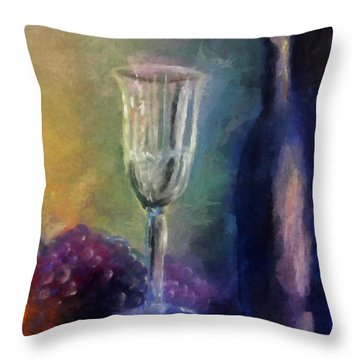 Vino Throw Pillow by Michelle Calkins