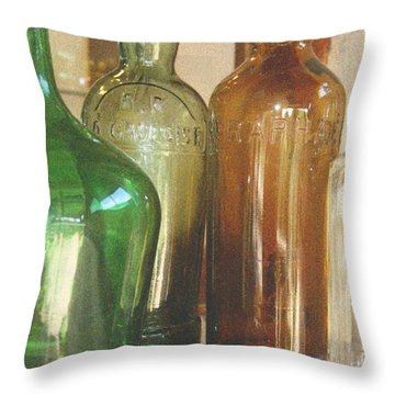 Vintage Bottles Throw Pillow by Georgia Fowler