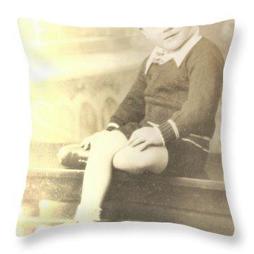 Vintage Boy Crossed Leg Throw Pillow by Alan Espasandin