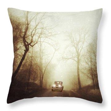 Vintage Car On Foggy Rural Road Throw Pillow by Jill Battaglia