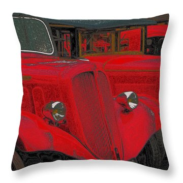Vintage Fire Truck Techno Art Throw Pillow by Tony Grider