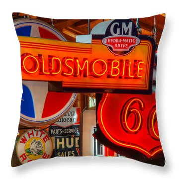 Vintage Neon Sign Oldsmobile Throw Pillow by Bob Christopher
