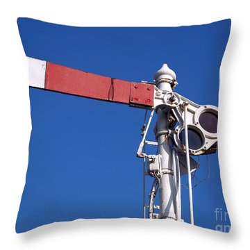 Vintage Old Train Signal Throw Pillow by Yali Shi