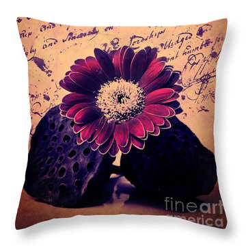 Vintage Passion Letters Throw Pillow by Angela Doelling AD DESIGN Photo and PhotoArt