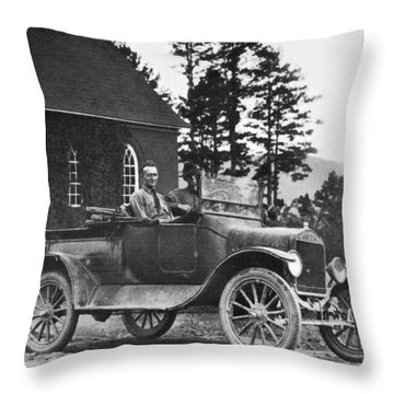 Vintage Photo Of Men In Truck Throw Pillow by Susan Leggett