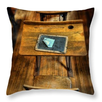 Vintage School Desks Throw Pillow by Jill Battaglia