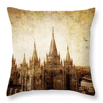 Vintage Slc Temple Throw Pillow by La Rae  Roberts