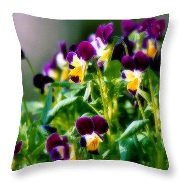 Viola Parade Throw Pillow by Karen Wiles