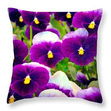 Violet Pansies Throw Pillow by Sumit Mehndiratta